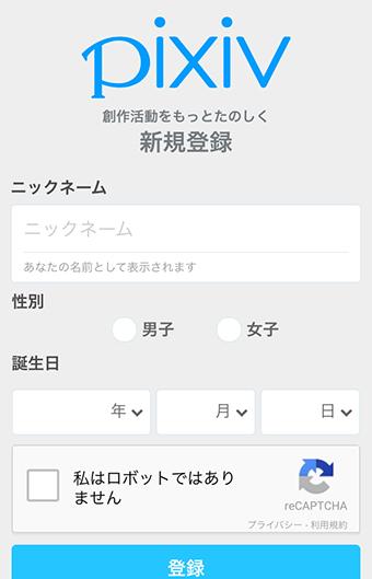 pixivの登録情報入力画面